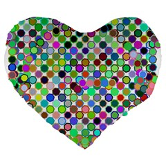 Colorful Dots Balls On White Background Large 19  Premium Flano Heart Shape Cushions
