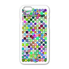 Colorful Dots Balls On White Background Apple iPhone 6/6S White Enamel Case