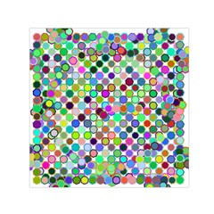 Colorful Dots Balls On White Background Small Satin Scarf (square)