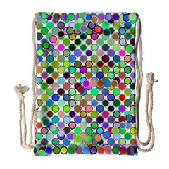 Colorful Dots Balls On White Background Drawstring Bag (large)
