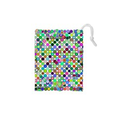 Colorful Dots Balls On White Background Drawstring Pouches (XS)