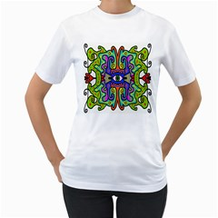 Abstract Shape Doodle Thing Women s T-Shirt (White) (Two Sided)