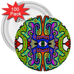 Abstract Shape Doodle Thing 3  Buttons (100 Pack)