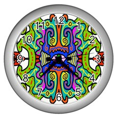 Abstract Shape Doodle Thing Wall Clocks (silver)