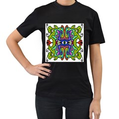 Abstract Shape Doodle Thing Women s T Shirt (black) (two Sided)