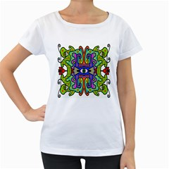 Abstract Shape Doodle Thing Women s Loose-Fit T-Shirt (White)