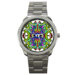 Abstract Shape Doodle Thing Sport Metal Watch