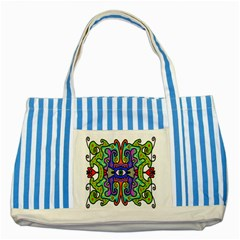 Abstract Shape Doodle Thing Striped Blue Tote Bag
