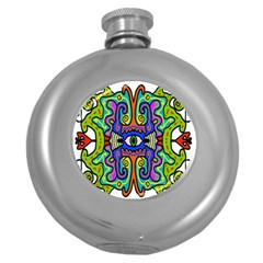 Abstract Shape Doodle Thing Round Hip Flask (5 Oz)