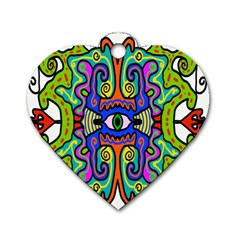 Abstract Shape Doodle Thing Dog Tag Heart (two Sides)