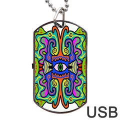 Abstract Shape Doodle Thing Dog Tag Usb Flash (one Side)
