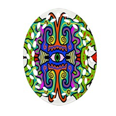 Abstract Shape Doodle Thing Oval Filigree Ornament (two Sides)