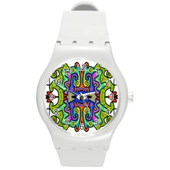 Abstract Shape Doodle Thing Round Plastic Sport Watch (m)