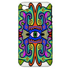 Abstract Shape Doodle Thing Apple Iphone 4/4s Hardshell Case (pc+silicone)