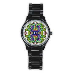 Abstract Shape Doodle Thing Stainless Steel Round Watch