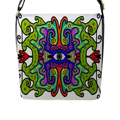 Abstract Shape Doodle Thing Flap Messenger Bag (l)
