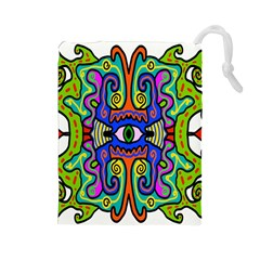 Abstract Shape Doodle Thing Drawstring Pouches (Large)
