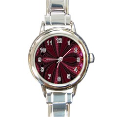 Red Ribbon Effect Newtonian Fractal Round Italian Charm Watch