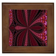 Red Ribbon Effect Newtonian Fractal Framed Tiles
