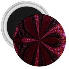 Red Ribbon Effect Newtonian Fractal 3  Magnets