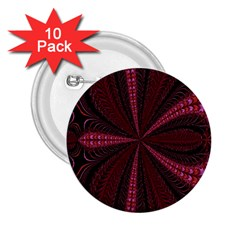 Red Ribbon Effect Newtonian Fractal 2 25  Buttons (10 Pack)