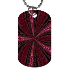 Red Ribbon Effect Newtonian Fractal Dog Tag (two Sides)