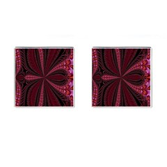 Red Ribbon Effect Newtonian Fractal Cufflinks (Square)