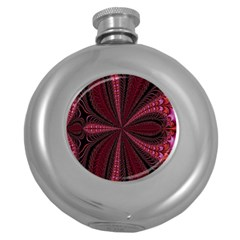 Red Ribbon Effect Newtonian Fractal Round Hip Flask (5 oz)