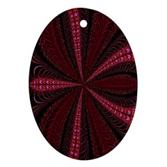 Red Ribbon Effect Newtonian Fractal Oval Ornament (Two Sides)