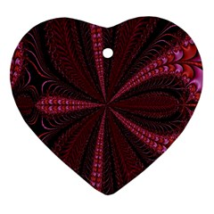 Red Ribbon Effect Newtonian Fractal Heart Ornament (two Sides)