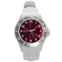 Red Ribbon Effect Newtonian Fractal Round Plastic Sport Watch (L)
