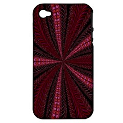 Red Ribbon Effect Newtonian Fractal Apple iPhone 4/4S Hardshell Case (PC+Silicone)