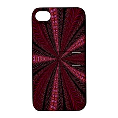 Red Ribbon Effect Newtonian Fractal Apple iPhone 4/4S Hardshell Case with Stand