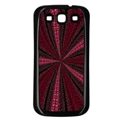 Red Ribbon Effect Newtonian Fractal Samsung Galaxy S3 Back Case (Black)