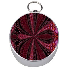 Red Ribbon Effect Newtonian Fractal Silver Compasses