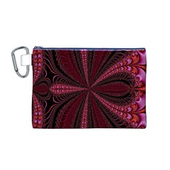 Red Ribbon Effect Newtonian Fractal Canvas Cosmetic Bag (M)