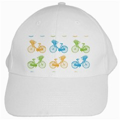 Vintage Bikes With Basket Of Flowers Colorful Wallpaper Background Illustration White Cap