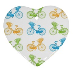 Vintage Bikes With Basket Of Flowers Colorful Wallpaper Background Illustration Ornament (heart)