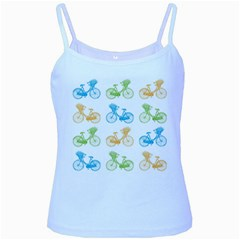 Vintage Bikes With Basket Of Flowers Colorful Wallpaper Background Illustration Baby Blue Spaghetti Tank