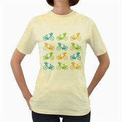 Vintage Bikes With Basket Of Flowers Colorful Wallpaper Background Illustration Women s Yellow T Shirt