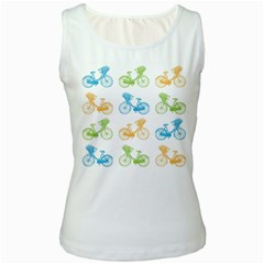 Vintage Bikes With Basket Of Flowers Colorful Wallpaper Background Illustration Women s White Tank Top