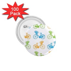 Vintage Bikes With Basket Of Flowers Colorful Wallpaper Background Illustration 1 75  Buttons (100 Pack)