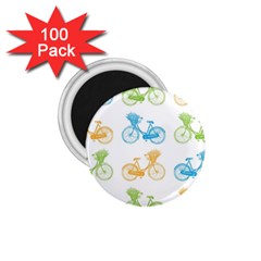 Vintage Bikes With Basket Of Flowers Colorful Wallpaper Background Illustration 1.75  Magnets (100 pack)