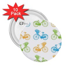 Vintage Bikes With Basket Of Flowers Colorful Wallpaper Background Illustration 2.25  Buttons (10 pack)