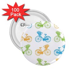 Vintage Bikes With Basket Of Flowers Colorful Wallpaper Background Illustration 2.25  Buttons (100 pack)