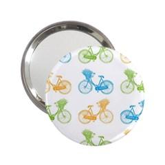 Vintage Bikes With Basket Of Flowers Colorful Wallpaper Background Illustration 2.25  Handbag Mirrors