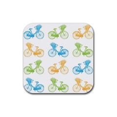 Vintage Bikes With Basket Of Flowers Colorful Wallpaper Background Illustration Rubber Coaster (square)