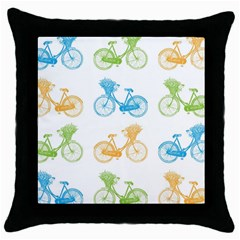 Vintage Bikes With Basket Of Flowers Colorful Wallpaper Background Illustration Throw Pillow Case (Black)