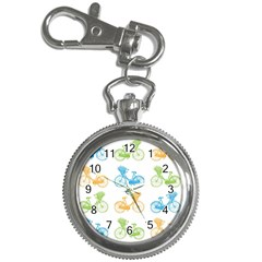 Vintage Bikes With Basket Of Flowers Colorful Wallpaper Background Illustration Key Chain Watches
