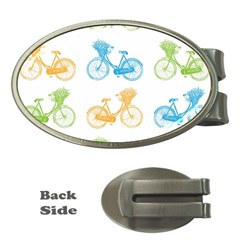 Vintage Bikes With Basket Of Flowers Colorful Wallpaper Background Illustration Money Clips (oval)